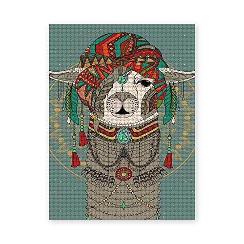 Pintura de diamante 5D de bricolaje,Sombreros coloridos con llama con accesorios,pendientes,collar,animal abstracto,Pintura punto de cruz cristal diamante bordado imagen arte 20x16 inch