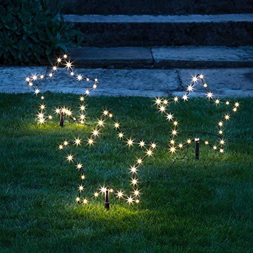Lights4fun Conjunto de 3 Balizas Estrellas Luminosas LED Blanco Cálido para Exteriores