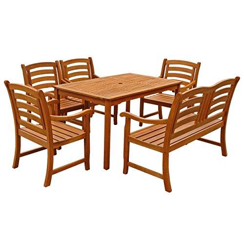IND-70291-MOSE6 Gartenmöbel Set Montana, Garten Garnitur Sitzgruppe aus Holz - 6-teilig - Tisch + 4 x Stuhl + Bank