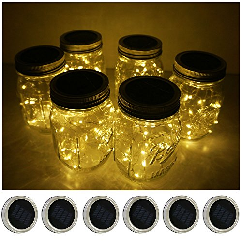 6 Pack Mason Jar Lights 10 LED Solar Warm White Fairy String Lights Lids Insert for Patio Yard Garden Party Wedding Christmas Decorative Lighting Fit for Regular Mouth Jars(Jars Not Included)