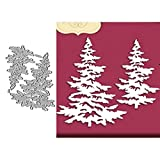Christmas Metal Die Cuts, Merry Christmas Word Cedar Ball Bowtie Flower Maple Leaf Cutting Dies Cut Stencils for DIY Scrapbooking Album Decora Embossing Card Making (2PCS Cedar)