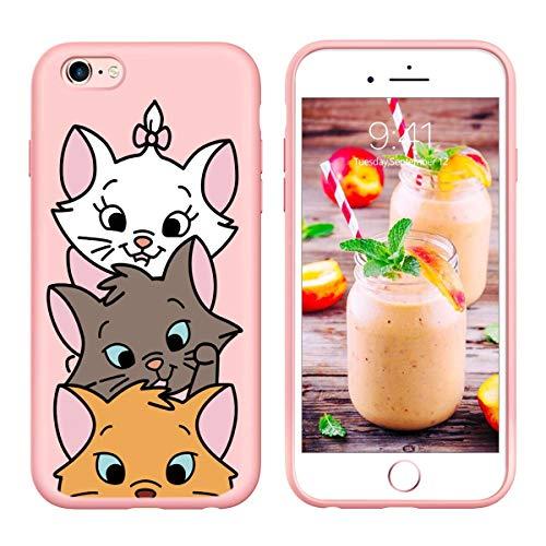 Pnakqil iPhone 6s Plus / 6 Plus Cover,Custodia per iPhone 6s Plus / 6 Plus in Silicone TPU Slim Cover Case Antiurto Anti-Graffio Ultra Sottile Back Case Cellulare Rosa Chiaro,Gatto 03