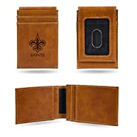 NFL Rico Industries Laser Engraved Front Pocket Wallet, New Orleans Saints