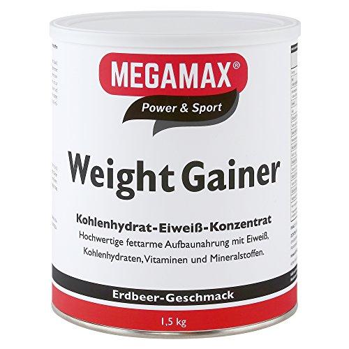 Megamax Weight Gainer Erdbeere 1,5 kg 0,5% Fett | Vitamine, hochwertige Kohlenhydrate & Proteine ideal für HardGainer u. Untergewicht | Aufbaunahrung für Massephase, Masseaufbau & Zunehmen