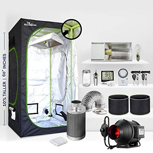 TheBudGrower 24''x24''x60'' Grow Tent + 4'' Inline Fan Filter Duct Combo + 17,500Lumans HPS Light + Hangers + Hygrometer + 24-Hour Timer + Cloth pots + Fermenting Jar + Grow Tent Complete Kit