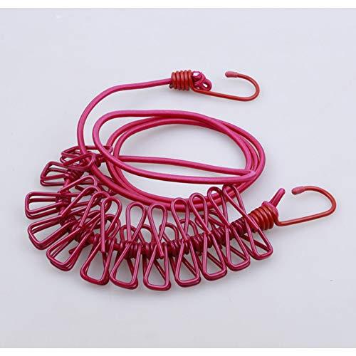 CHUITF Draagbare inschuifbare waslijn touw met clips camping wasgoed drogen Levert winddichte haak waslijn met 12 clips roze/rood (rose/red)