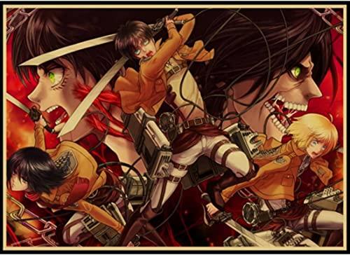 DONGCHAO Póster Vintage Classic Movie Posters Attack On Titan Decoración para El Hogar Bar Pintura Arte De La Pared Pegatinas Retro 50 * 70 Cm (Sin Marco) A Prueba De Humedad
