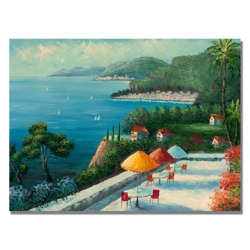 Cafe on Lake Como by Master's Art, 22x32-Inch Canvas Wall Art