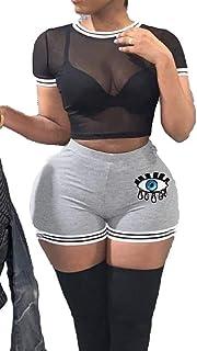 FSSE Women's Summer Short Sleeve Mesh See Through T-Shirt & Shorts 2-Piece Outfit