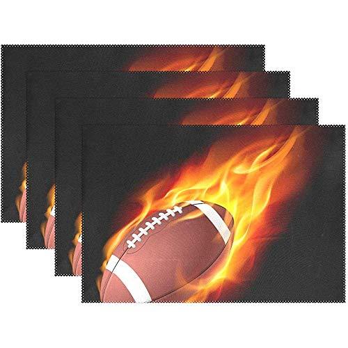 sunnee-shop Vintage Sports American Football voetbal vuur vlammen plaat placemats mat 12 x 18 inch