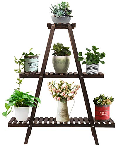 Augosta 3 Tier Wood Plant Stand, Large Multi Tiered Plant Shelf for Multiple Plants, Indoor Flower Pots Stand, Outdoor Plant Shelves Rack Holder