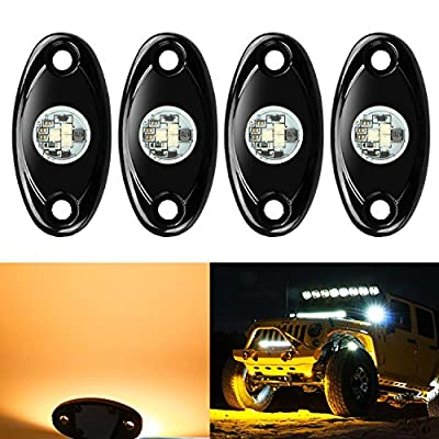 4 Pods LED Rock Lights, Ampper Waterproof LED Neon Underglow Light for Car Truck ATV UTV SUV Jeep Offroad Boat Underbody Glow Trail Rig Lamp (Yellow)