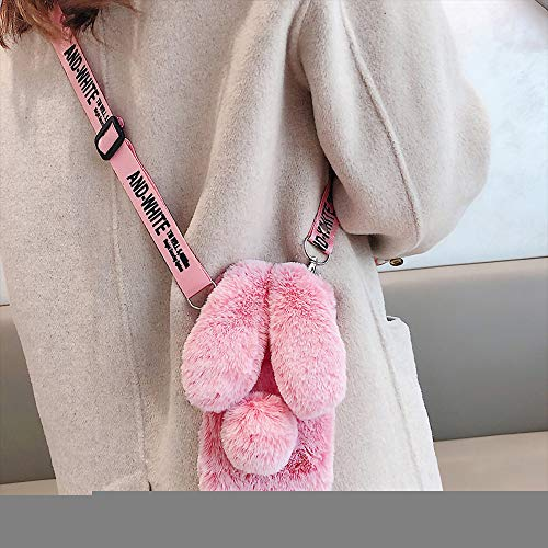 Samsung Galaxy A20 Rabbit Fur Case with Fluffy Bunny Ears - Samsung Galaxy A20 Pink Furry Fuzzy Phone Case for Woman Girls, Soft Cute Plush Winter Warm Cover with Crossbody Strap