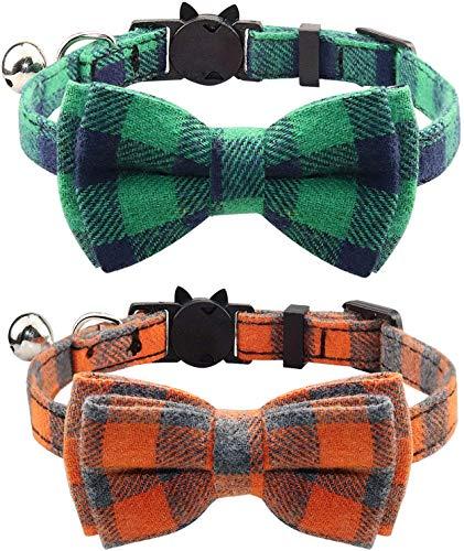 YCZ Katzenhalsband Breakaway mit Fliege und Glocke für Katze und einige Welpen, einstellbar von 7,8 bis 10,5 Zoll 2er-Pack (Grün + Orange)