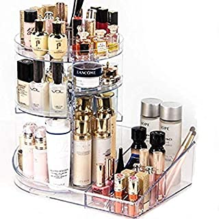 Large Makeup Organizer Cosmetic Display Case 360 Degree Rotating Makeup Storage Units Capacity Cosmetic Holder Stand Adjustable Trays Fit Beauty Skincare Items