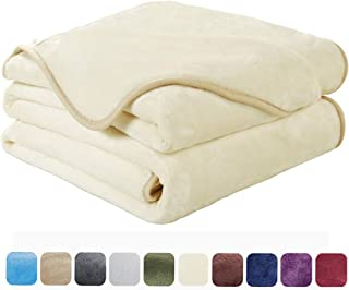 EASELAND Soft King Size Blanket Winter Warm Microplush Lightweight Thermal Fleece Blankets for Couch Bed Sofa,90x108 Inches,Ivory