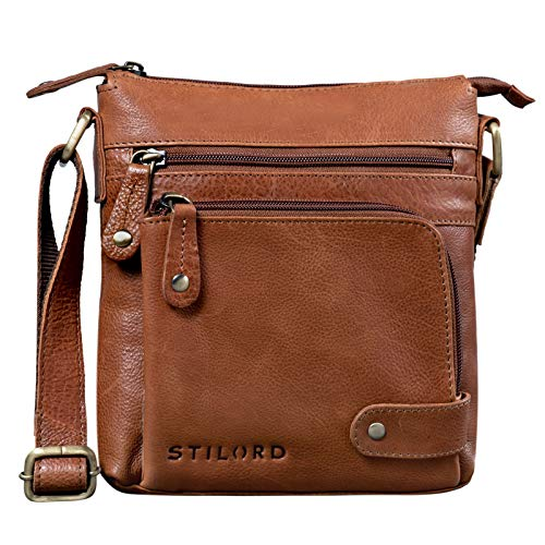 STILORD 'Cameron' Kleine Leder Umhängetasche Vintage Messenger Bag Ledertasche DIN A5 8,4 Zoll Tablettasche Handtasche Cross Body Bag Retro Ledertasche, Farbe:Texas - braun