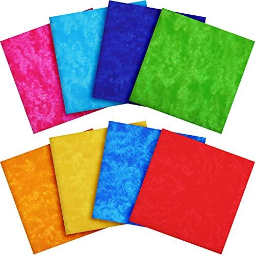 8 Telas de Algodón de Tie-Dye Grandes de 19,6 x 19,6 Pulgadas/ 50 x 50 cm Tela Acolchada de Algodón Tela de Patchwork de Costura para Coser Camisas Ropa DIY Artesanía