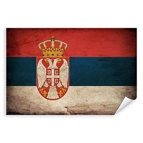 Postereck - 0335 - Vintage Flagge, Fahne Serbien Belgrad - Unterricht Klassenzimmer Schule Wandposter Fotoposter Bilder Wandbild Wandbilder - Poster - DIN A4-21,0 cm x 29,7 cm