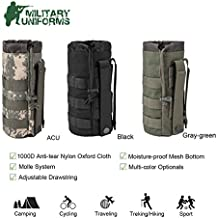 Sports Water Bottles Pouch Bag Tactical Molle Water Bottle Pouch Military Drawstring Water Bottle Pouch Holder Mesh Water Bottle Carrier Attachment Bottle Sling Bag with Pouch ACU Camouflage (Black)