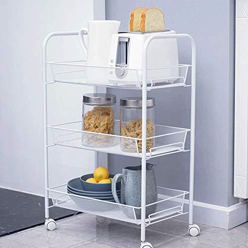 XUSHEN-HU Carrito de almacenamiento de 3 niveles con ruedas de metal, color blanco, con ruedas y asa de utilidad, carrito de almacenamiento para cocina (color: blanco, tamaño: 43,5 x 26,5 x 62,5 cm)