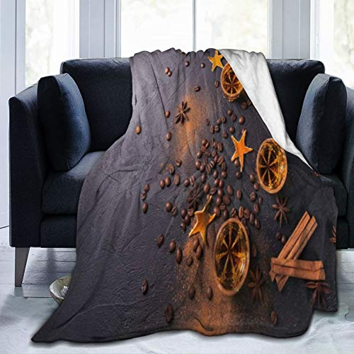 LASINSU Flannel Fleece Soft Throw Blanket,Whiskey Brandy Or Liquor Coffee Beans Spices And Decorations On Dark Background,for Settees/Sofa/Chairs/Couch Lightweight,Warm and Cozy(204x153cm)