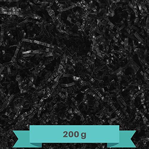 Creative Deco 200g Schwarz Füllmaterial aus Papier | Papier-Schnitzel | Deko-Stroh für Zuhause | Verpackungs-Material für Weihnachts-Geschenke und Geschenk-körbe | KOMMT IN Blauer Tasche