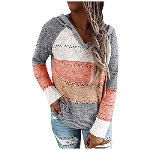 Sweaters for Women Striped Color Block V Neck Knit Fall Hoodie Sweater Loose Long Sleeve Pullover Sweatshirts Tops Orange