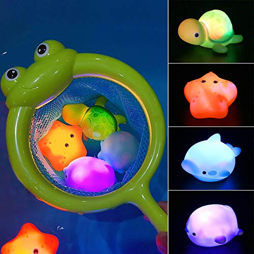 MMTX Baby Bath Toys for kids, 5 Pack Light Up Bath Toys Floating Rubber Bathtub Toys, Flashing Color Changing Light in Water, Bathroom Shower Water Toy for Infant Toddler Child 1 2 3 4 5 6 Years Old