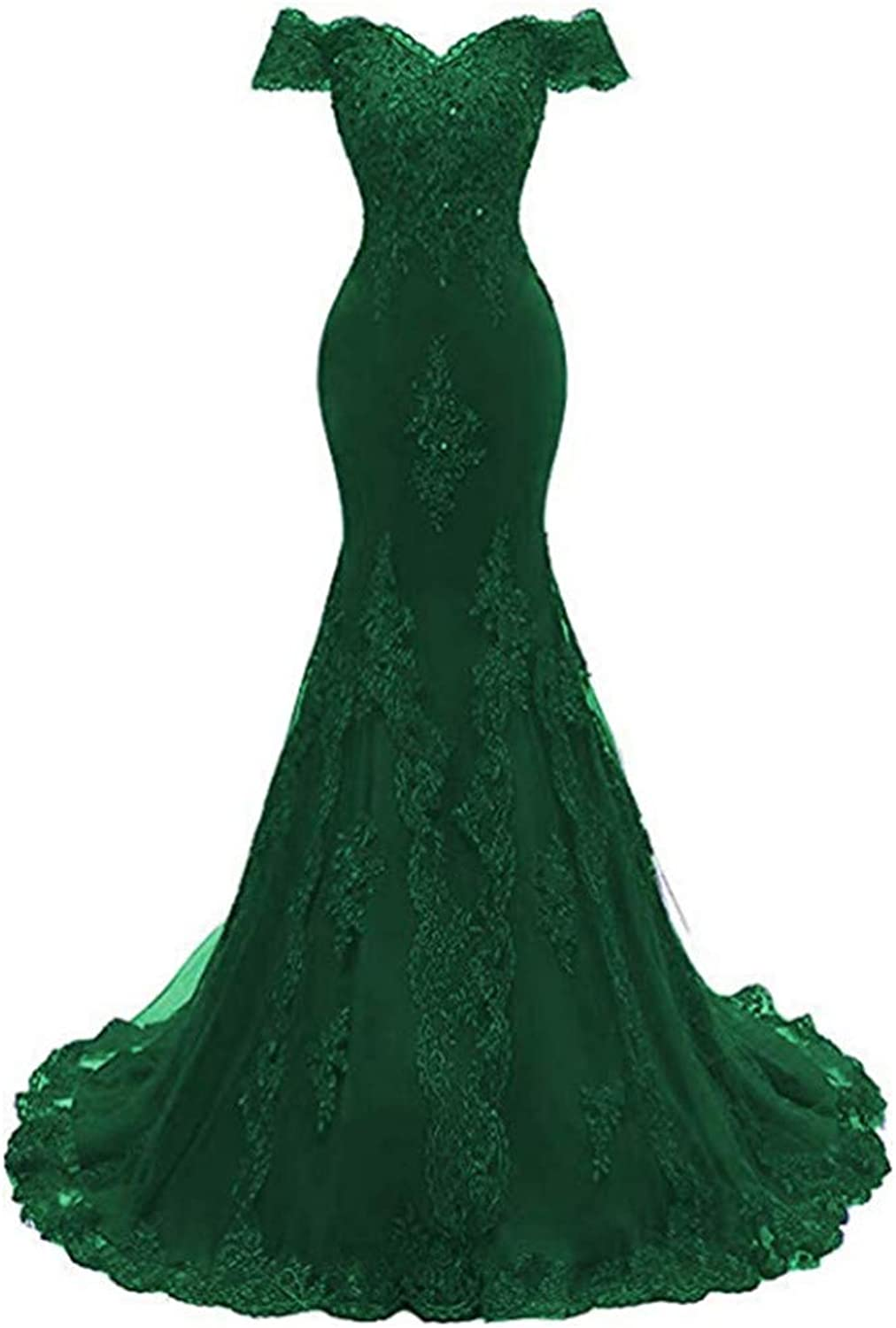 Ai Maria Women's Shoulder 0ff Beaded Evening Gowns Mermaid Lace Prom Dresse