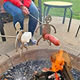 Steel Hot Dog/Marshmallow Roasters, Novelty Women Men Shaped Stainless Steel Camp Fire Roasting Stick, Funny Metal Craft Barbecue Forks for Bonfire Grill (Marshmallow Girl + Hot Dog Boy with Stick)