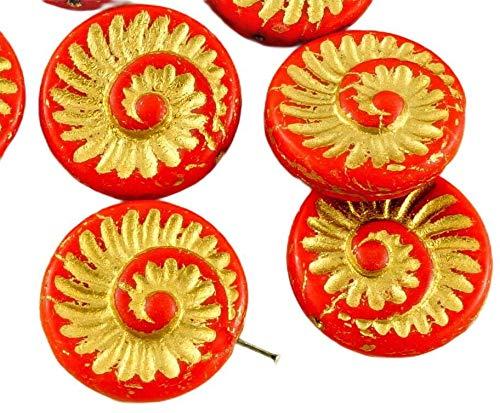 4pcs Opaque Coraline Corail Rouge Mat Or Patine Laver Nautilus Fossiles d'Escargots en Coquille d'Ammonite Plat Rond Spirale de Pièce de monnaie tchèque Perles de Verre 18mm