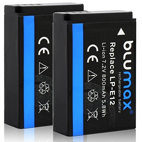 Blumax 2X Akku für Canon LP-E12 800mAh |kompatibel mit EOS M | EOS M2 | EOS M50 | EOS M10 | EOS 100D | EOS Rebel SL1