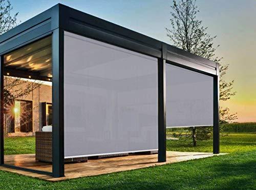 EB ESTORES BARATOS Persiana Enrollable Exterior Tecnoscreen/Bloqueo UV 70% / Microperforado (no Hace Efecto Vela). Medidas Ancho x Alto. Color: Perla. Medidas: 190cm x 180cm