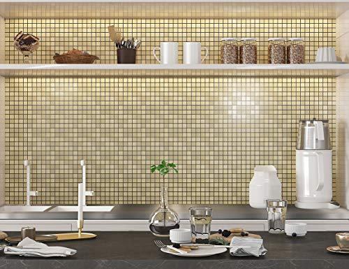 LEISIME Peel and Stick Tile Backsplash, Kitchen Backsplash Peel and Stick Mosaic Tile, Brushed Aluminum for Bathroom & Fireplace Decorations (Silver-10 PC)