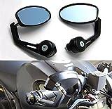 BADASS SHARKS Black Flexible Motorcycle Oval Rear View Back Mirror Handle Bar...