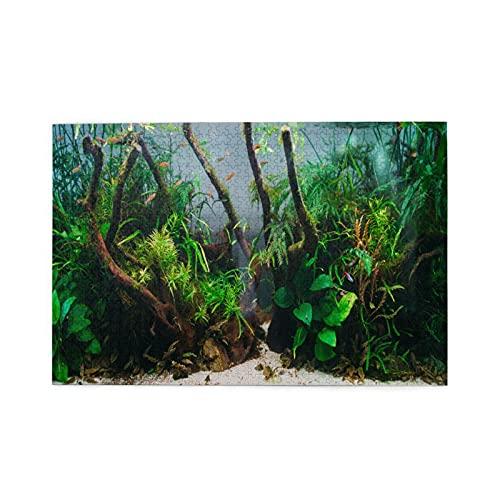 MZTYPLK Rompecabezas de 1000 Piezas,Rompecabezas de imágenes,Acuario Algas Elementos Flora Pecera,Juguetes Puzzle for Adultos niños Interesante Juego Juguete Decoración para El Hogar