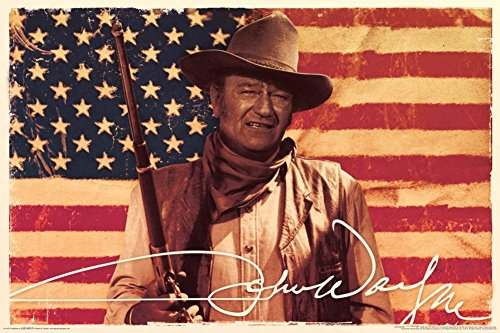 John Wayne- Flag Poster 36 x 24in