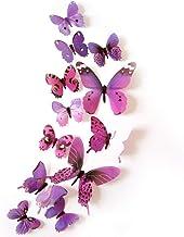12 Stks Kleurrijke Vlinder 3D Muurstickers DIY Art Decor Ambachten Kamer Decoratie (Paars)