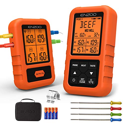 ENZOO Wireless Meat Thermometer for Grilling, Ultra Accurate & Fast Digital Meat Thermometer for Smoking with 4 Probes, 500FT 178° WideView Meat Thermometer for Smoker, BBQ, Carring Case Included