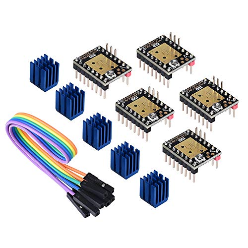 PoPprint TMC2208 V3.0 Stepper Motor Driver Module with Heat Sink Have UART Mode Compatible with Ramps1.4 or MKS Board SKR V1.3 for 3D Printers(Pack of 5pcs) (UART)