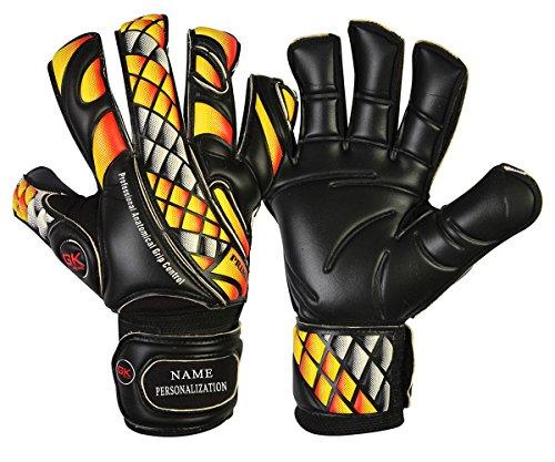 GK Saver Fußball Torwarthandschuhe Prime Fire Black Flat Cut Fingersave Größe 6 7 8 9, YES Fingersave NO Personalization, Größe 9
