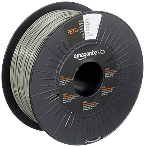 AmazonBasics PETG 3D Printer Filament, 1.75mm, Gray, 1 kg Spool
