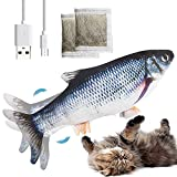 Katzenspielzeug Fisch Elektrisch mit Katzenminze,Katzen Spielzeug Fisch,Wiederaufladbar USB Kabel,2 Packs Katzenminze Spielzeug Fisch mit für Katze Beißen,Spielen und Treten,Übung und Gefühle Steigern