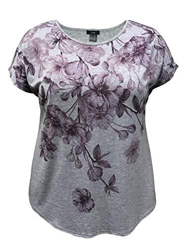 LEEBE Mujer Talla Grande - Camiseta de Manga Corta Dolman Estampada (1XL-5XL) (1XL (46-48), Floral Morado)