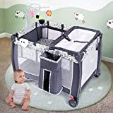 Costzon Nursery Center, 3 in 1 Pack and Play with Bassinet, Foldable Baby Playard with Changing Table, Music Box, Whirling Toys, Wheels & Brake, Large Capacity Basket, Oxford Carry Bag (Grey)