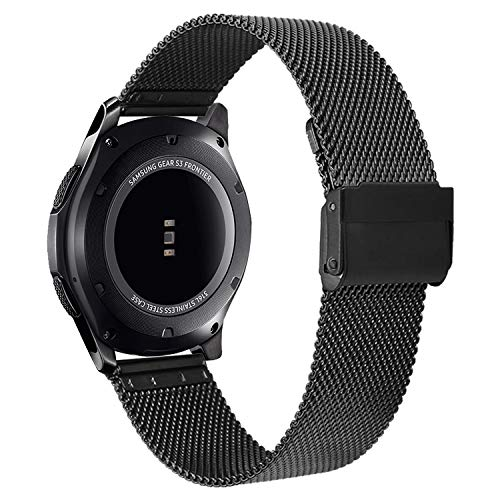 V-MORO Strap Compatible with Gear S3 Frontier Bands/Galaxy Watch 46mm Band 22mm Black Loop Mesh Stainless Steel Metal Bracelet Compatible with Samsung Galaxy Watch 46mm/Gear S3 Smartwatch 6.3