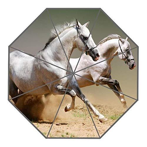NJSDDB paraplu Aangepaste Knappe paard Paraplu's Creatief Ontwerp Opvouwbare Regen Paraplu, Donkergrijs