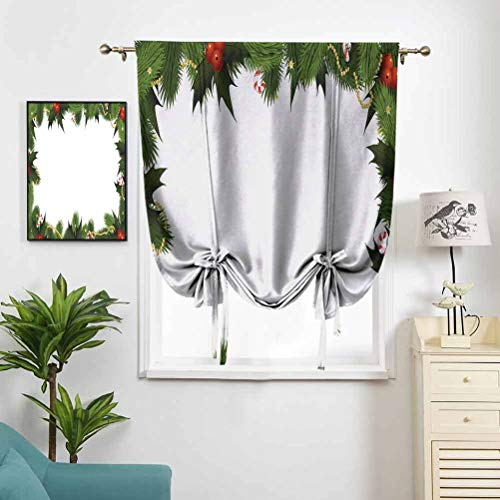 Thermal Insulated Blackout Curtain Tie Up Shade Frame Style Garland Pattern Mistletoes W35 x L64 Darkening Curtains for Bedroom Kids Small Window Curtain Rod Pocket