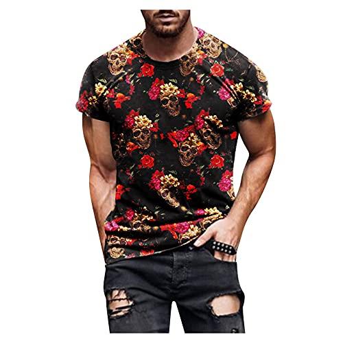 Dasongff Oversize Herren Rundhals Shirt Sommer T-Shirt Herren Fitness T-Shirt Bodybuilding Tshirts Workout Männer Sport Trainingsshirt Casual Slim Fit Große Bedruckt Kurzarm Tops